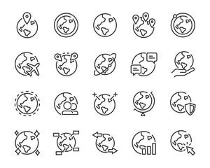 set of world icons, globe, global, internet, world, connect