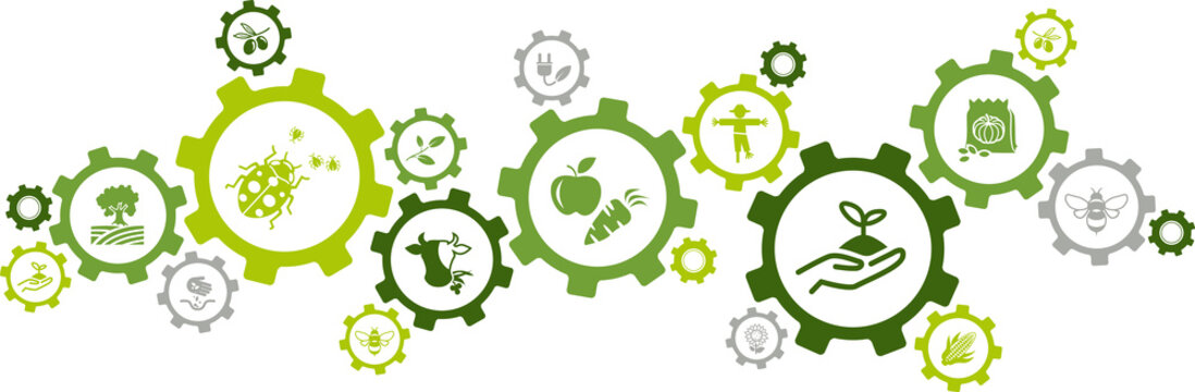 Bio farming / organic agriculture icon concept – eco friendly pest control, animal welfare, healthy produce – vector illustration