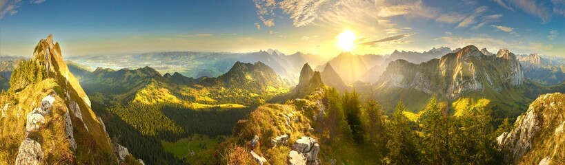 Great panoramic view of morning mountains in Switzerland with Lake Zürich and many tops in autumn Wall mural