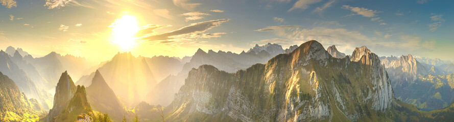 Autumn mountains at sunrise in Switzerland Fototapete