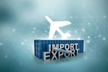 Container export. 3d illustration