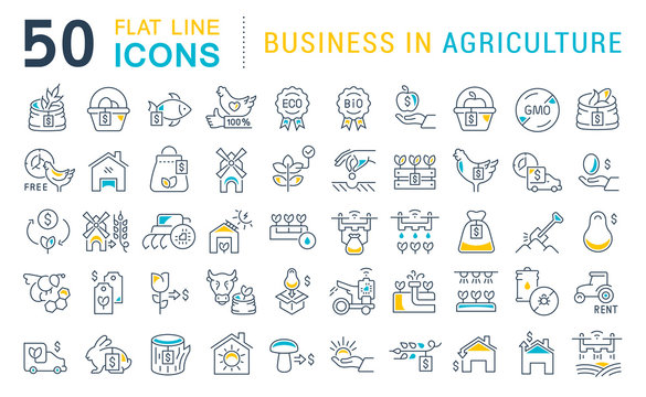 Set Vector Line Icons of Business in Agriculture