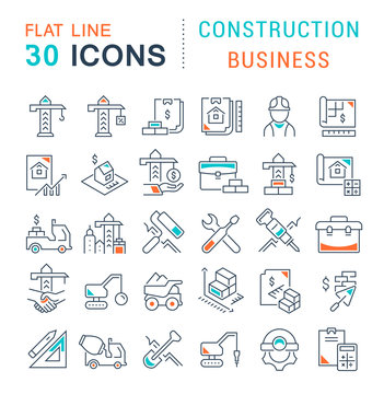 Set Vector Line Icons of Construction Business