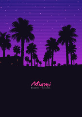 Foto op Aluminium Violet Palm background 80 s, 90 s style. Vector landscape of sunset. Image of old, retro, vintage style. Party banner, invitation, flyer, futurism , advertising. Retro disco and dance.
