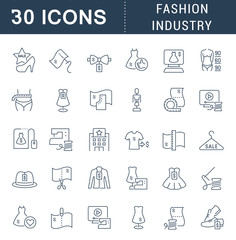Set Linear Icons of Fashion Industry