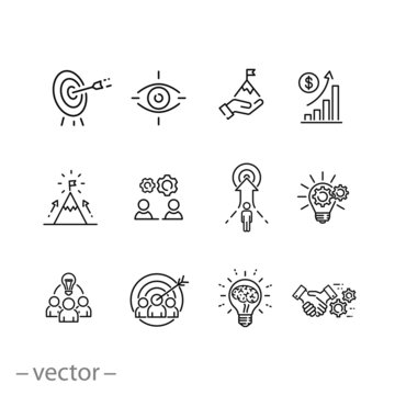 mission vision integrity icons set, value innovation, company value statement, business purpose, thin line web symbols on white background - editable stroke vector illustration eps10