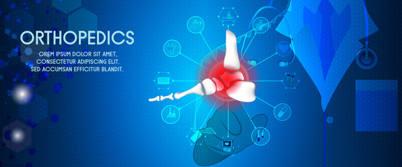 Molecular structure foot  and injury background. Abstract traumatology and orthopedics with the molecule Hexagon, science, and technology, the hospital for body joints, anatomy. Vector illustration