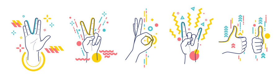 Gestures showing positive emotions: victory, recommendations, rock, greeting, approx. Flat / line style with colorful small geometric particles and dots. Set elements. Fototapete