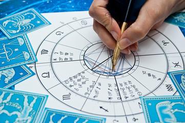 Obraz astrologer fortune teller with quill pen, horoscope, zodiac like astrology concept  - fototapety do salonu