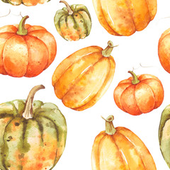 Hand drawn watercolor pumpkins fall seamless pattern on isolated white background. Watercolor illustration. Hand drawing. It is perfect for thanksgiving cards or posters, hal