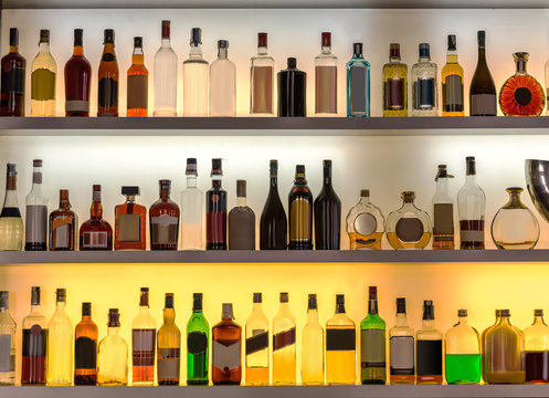 Luxury alcohol bar, beverages for cocktails