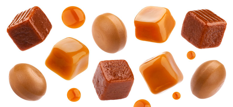 Caramel candies isolated on white background, collection