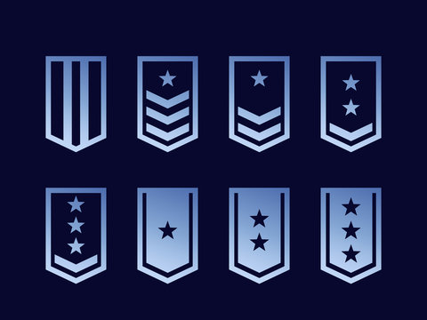 Military ranks, army epaulettes vector set