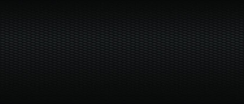 Dark black Carbon fiber Geometric grid background. Modern dark abstract vector texture.