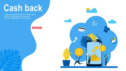 Cash Back concept design with Tiny People Character Concept Vector Illustration, Suitable For web landing page,Wallpaper, Background, Card, banner,Book Illustration Wall mural