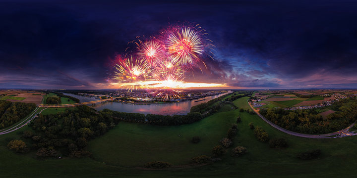 360° vr aerial view backfischfest firework city of worms at night
