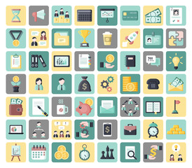 Entrepreneurship and business flat vector icons set