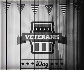 Veterans Day is a federal holiday in the United States observed annually on November 11, for honoring military veterans. Flag of America in background, black and white photo.