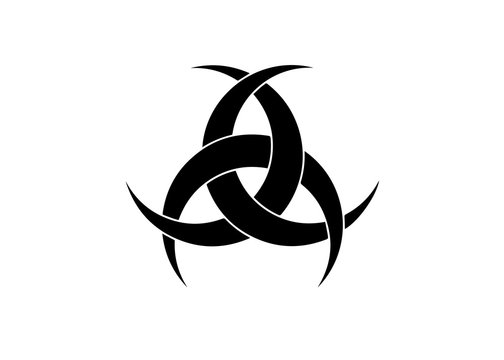 The Emblem Of Diane De Poitiers, Three Interlaced Crescents moon. Religion symbol, Odin icon. Celtic sacred flower Wiccan divination, tattoo tribal sign isolated on white background