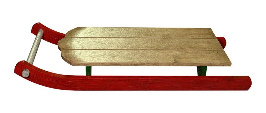 3D Rendering Vintage Wooden Sled on White