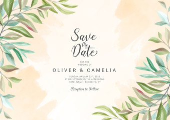 Botanic wedding invitation card template with beautiful watercolor floral decoration. Flowers background illustration for greeting, save the date, rsvp, thank you card vector