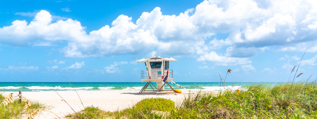 Panorama with lifeguard tower on the beach in Fort Lauderdale, Florida USA