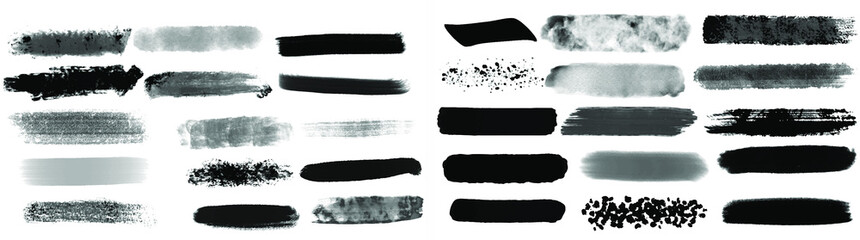 Tuinposter Vormen Black watercolor brush set for your design, vector.