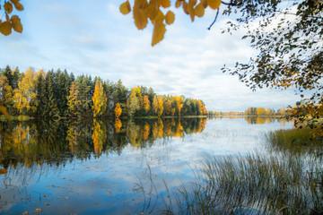 Beautiful autumn morning landscape of Kymijoki river waters. Finland, Kymenlaakso, Kouvola Wall mural