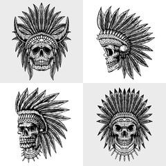 set skull indian collection vector illustration