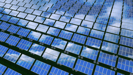 Solar panels - renewable energy concept. 3D rendering