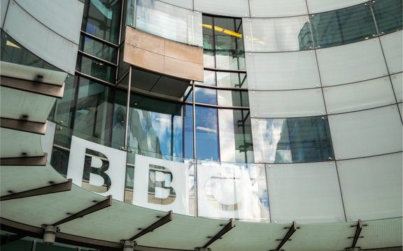 BBC Broadcasting House sign and frosted glass façade. Portland Place and Langham  Place, London, UK.