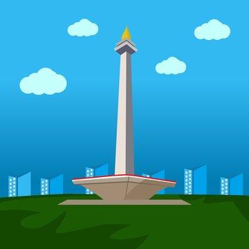 Monas Vector ,Monumen Nasional Indonesia , Jakarta City Image Vector