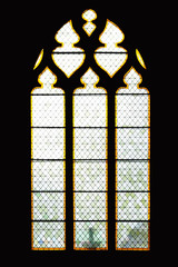 stained glass of Saint Caprais Cathedral, in Agen, the world capital of dried plums, in Occitania, in southwestern France - Free entrance