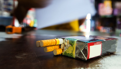 Cigarettes that are not yet ignited , healthcare and medical concept