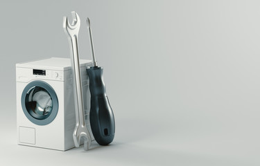 Washing machine repair. Assistance or maintenance concept. 3d rendering