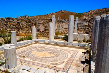 view of the house of dolphins in the archaeological city of Delos Island, near Mykonos, beautiful Cycladic island, in the heart of the Aegean Sea