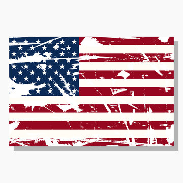 American flag with scratches, vector flag of America, USA symbol with shadow over light background.
