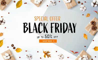Wall Mural - Black Friday banner with gift boxes with autumn leaves