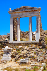 view of the temple of Isis in the archaeological city of Delos Island, near Mykonos, beautiful Cycladic island, in the heart of the Aegean Sea