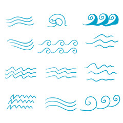 Set of thin line waves vector with handddrawn doodle vector