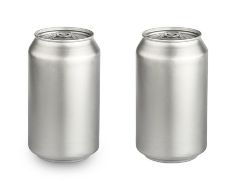 metal aluminum beverage drink can isolated on white background clipping path. photography