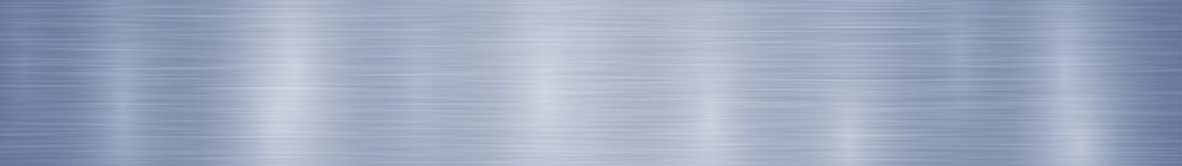 Abstract horizontal metal banner or background with glares in blue colors