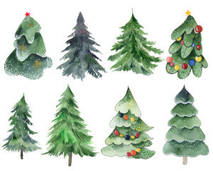 .Set of Christmas trees on a white background. Pine trees with a garland. Watercolor set of trees. Evergreen christmas plants. 2020