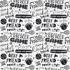 Hand-drawing seamless pattern for tennis. Short phrases, hand written text. Background for sports designs, banners, posters, packaging, textiles.
