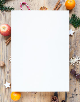 copy space, blank paper on wooden table with christmas decoration, winter, background