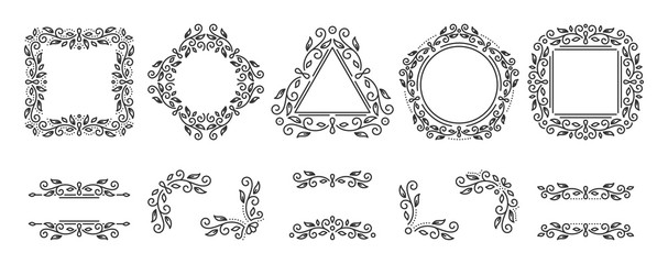 Text frame monogram devider corner art vector set