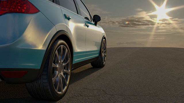 The car 3D sedan is worth on a road 3D rendering. Wheel close-up