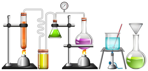 Set of science equipments on white background