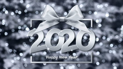 Fotomurales - 2020 happy new year number text in box frame with silver ribbon bow isolated on christmas blurred lights  background