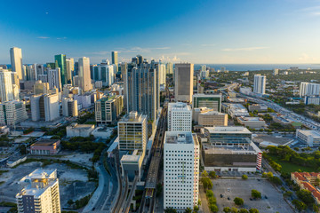 Wall Mural - Aerial photo railroad running through Downtown Miami Virgin Miamicenter brightline